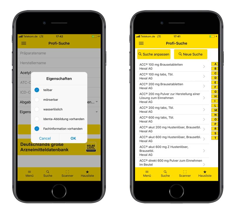 Gelbe Liste App Profi-Suche
