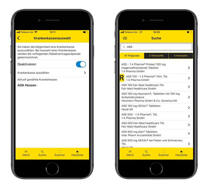 Gelbe Liste App Rabattvertragssuche