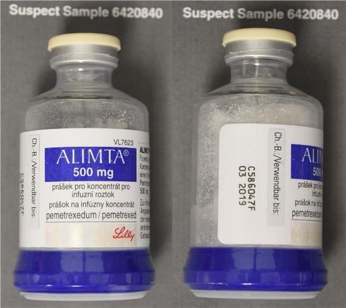 Alimta Fälschung Flasche - Abb. 1.
